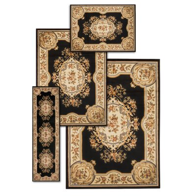 Lukeson 4 Piece Black/Beige Rug Set