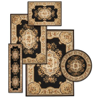 Lukeson 5 Piece Black/Beige Rug Set