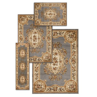 Lukeson 4 Piece Blue/Beige Rug Set