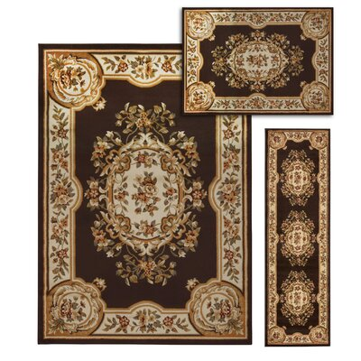 Lukeson 3 Piece Chocolate/Beige Rug Set