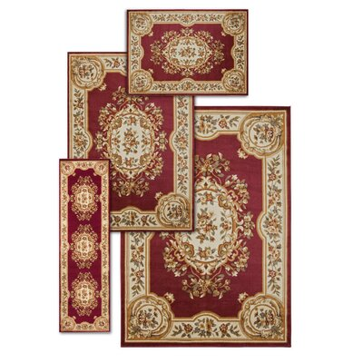Lukeson 4 Piece Red/Beige Rug Set