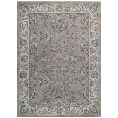 Poulos Hand-Tufted Gray/Silver Area Rug Rug Size: 39 x 59