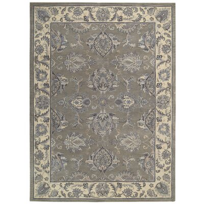 Poulos Hand-Tufted Gray/Beige Area Rug Rug Size: 56 x 86