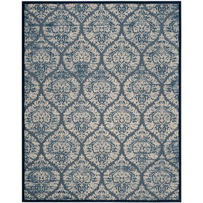 Parsons Blue/Cream Indoor/Outdoor Area Rug Rug Size: 4 x 6