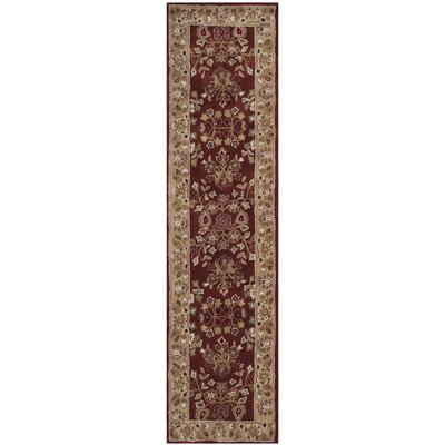 Marin Hand-Hooked Brown/Red Area Rug Rug Size: Round 6