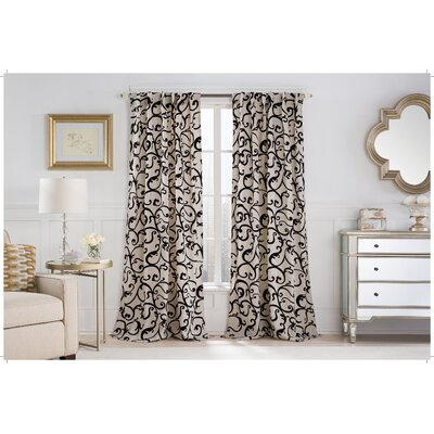Holton Graphic Print & Text Semi-Sheer Rod Pocket Single Curtain Panel