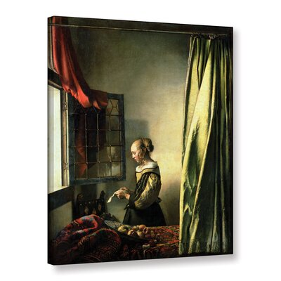 Girl At A Window Reading A Letter by Jan Vermeer Painting Print on Wrapped Canvas
