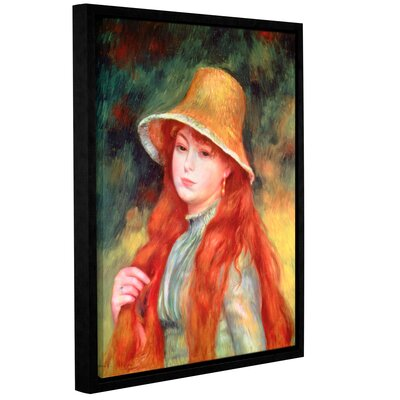 'Young Girl With Long Hair, Or Young Girl In A Straw Hat, 1884' by Pierre Renoir Framed Painting Print