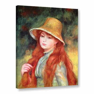 'Young Girl With Long Hair, Or Young Girl In A Straw Hat, 1884' by Pierre Renoir Painting Print on Wrapped Canvas