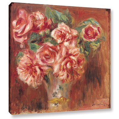 'Roses In A Vase, 1890' by Pierre Renoir Painting Print on Wrapped Canvas