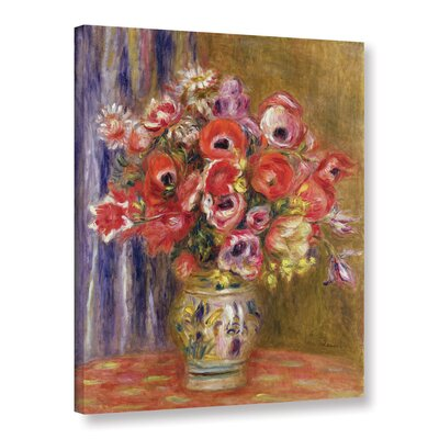 'Vase Of Tulips And Anemones, 1895' by Pierre Renoir Painting Print on Wrapped Canvas