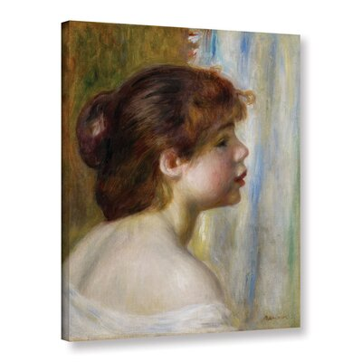 'Head Of A Young Woman, Late 19th Century' by Pierre Renoir Painting Print on Wrapped Canvas