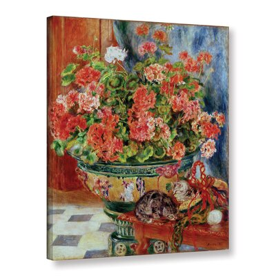 'Geraniums And Cats, 1881' by Pierre Renoir Painting Print on Wrapped Canvas