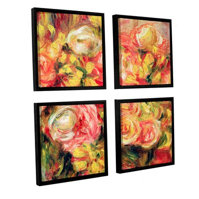 'Roses, 1915' by Pierre Renoir 4 Piece Framed Painting Print Set