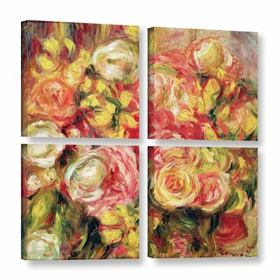 'Roses, 1915' by Pierre Renoir 4 Piece Painting Print on Wrapped Canvas Set