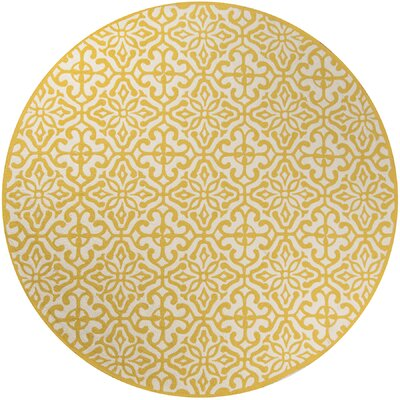 Peyton Yellow/White Outdoor Area Rug Rug Size: Round 9 x 9