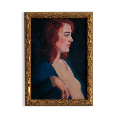 'Vintage Lady Redhead' Framed Watercolor Painting Print on Paper