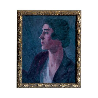 'Vintage Lady Brunette' Framed Watercolor Painting Print on Paper
