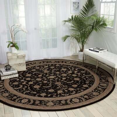 Lundeen Black Area Rug Rug Size: Round 9 x 9