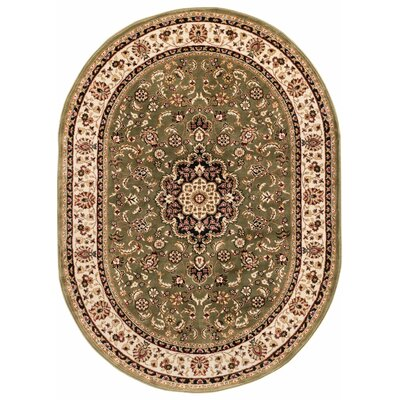 Eldorado Medallion Green Area Rug Rug Size: Oval 5'3
