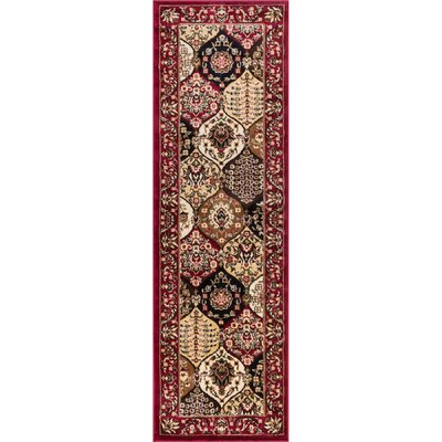 Elkton Wentworth Panel Red Area Rug Rug Size: Runner 2'3