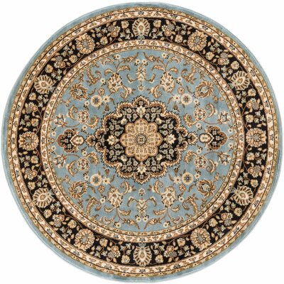 Embassy Medallion Traditional Blue Area Rug Rug Size: Round 5'3