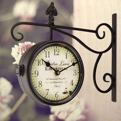 Round Double Sided Wall Hanging Clock