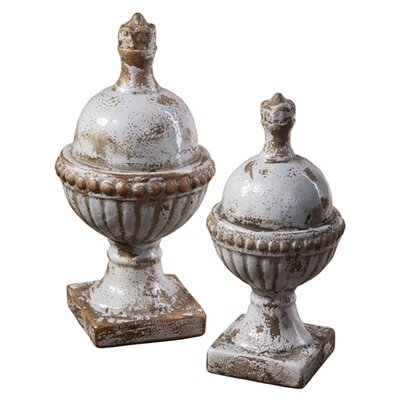 2 Piece Sini Finial Ceramic Sculpture Set