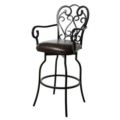 Aloysius 30 Swivel Bar Stool Upholstery: PU Faux Leather Florentine Coffee