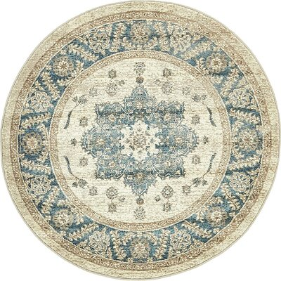 Basswood Cream Area Rug Rug Size: Round 4
