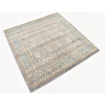 Basswood Gray Area Rug Rug Size: Square 4'