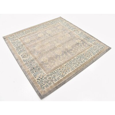 Basswood Gray Area Rug Rug Size: Square 5'