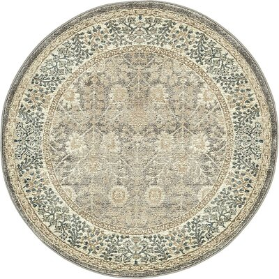 Basswood Gray Area Rug Rug Size: Round 4'
