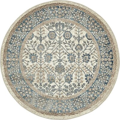 Basswood Cream Area Rug Rug Size: Round 4'