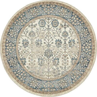 Basswood Cream Area Rug Rug Size: Round 5'