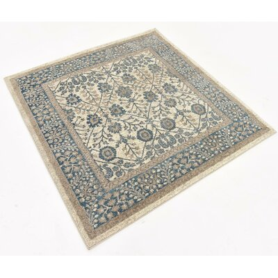 Basswood Cream Area Rug Rug Size: Square 4'