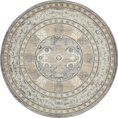 Basswood Gray Area Rug Rug Size: Round 5