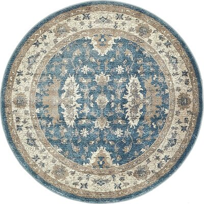 Basswood Light Blue Area Rug Rug Size: Round 4