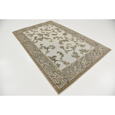 Audubon Beige/Gray/Light Brown Indoor/Outdoor Area Rug Rug Size: Rectangle 5 x 8
