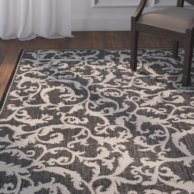 Beasley All Over Ivy Black Indoor/Outdoor Area Rug Rug Size: Runner 23 x 12