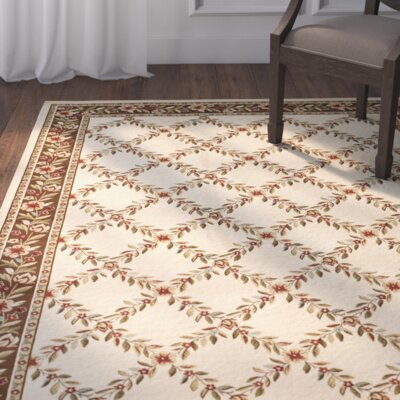 Taufner Ivory/Brown Checked Area Rug Rug Size: 53 x 76