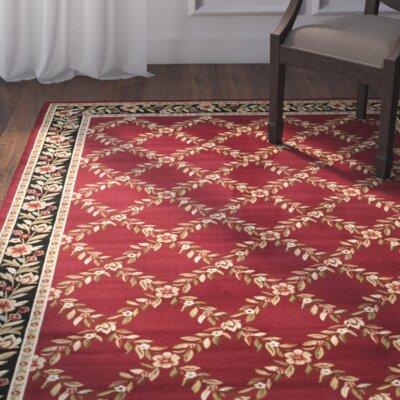 Taufner Red/Black Area Rug Rug Size: Rectangle 53 x 76
