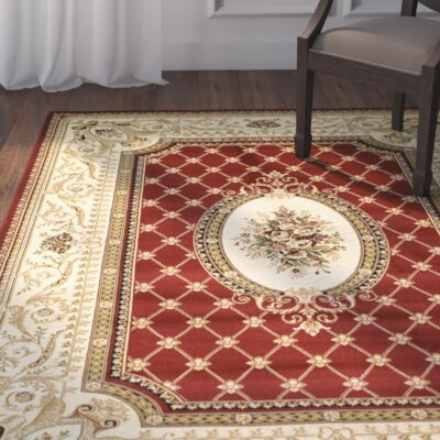 Taufner Red/Ivory Area Rug Rug Size: Rectangle 53 x 76