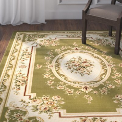 Taufner Sage/Ivory Aubusson Area Rug Rug Size: Rectangle 79 x 109
