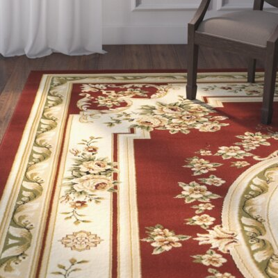 Taufner Aubusson Red/Ivory Area Rug Rug Size: Rectangle 33 x 53