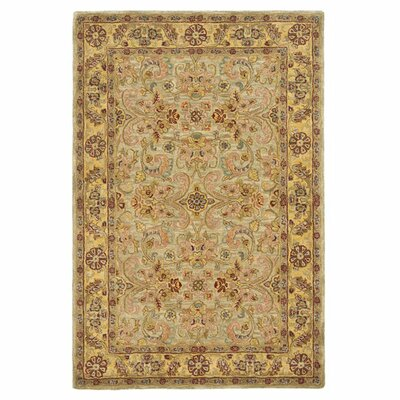 Berezinsky Light Green / Gold Area Rug Rug Size: 76 x 96