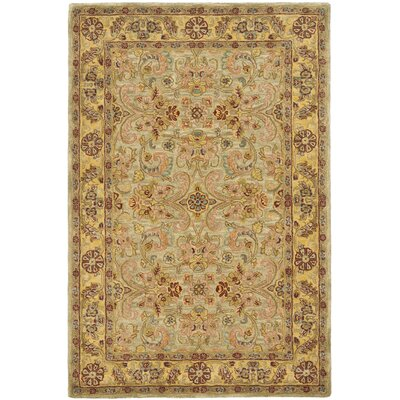 Berezinsky Light Green / Gold Area Rug Rug Size: Runner 23 x 14
