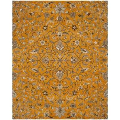 Davila Hand-Tufted Orange/Gray Area Rug Rug Size: Round 5