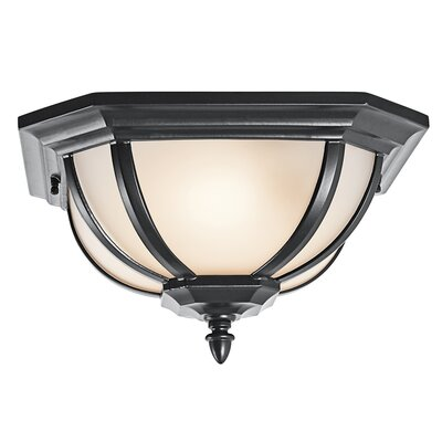 Greenview 2-Light Flush Mount Finish: Rubbed Bronze, Glass: Satin Etched