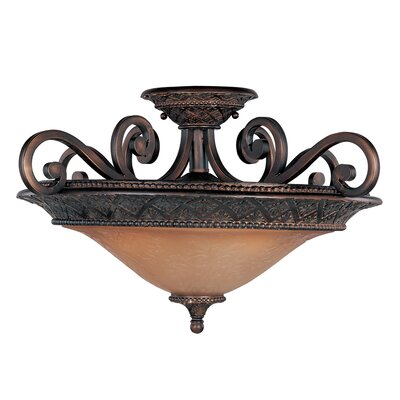 Alsager 3-Light Semi-Flush Mount Shade Color: Screen Amber